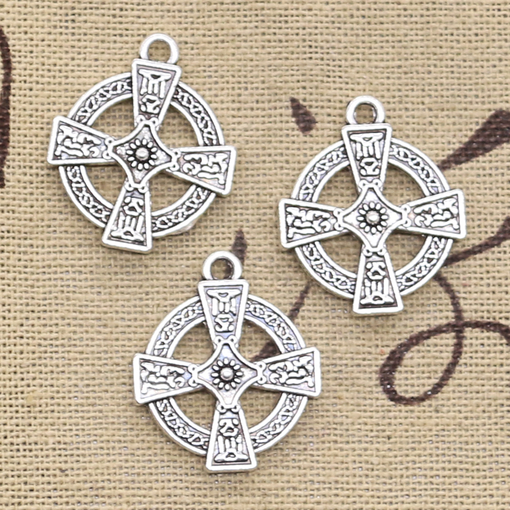 8pcs Charms Double Sided Circle Cross 23x20mm Antique Making Pendant fit,Vintage Tibetan Silver color,DIY Handmade Jewelry