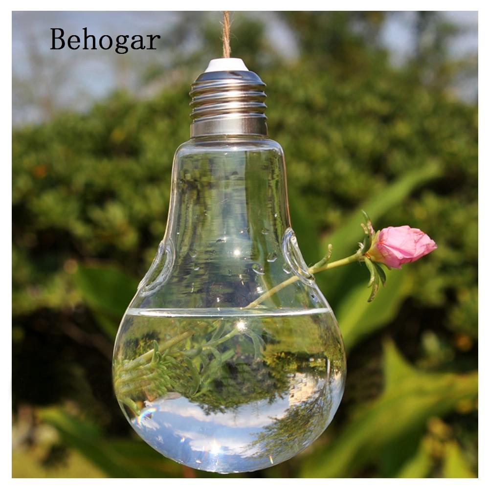 Behogar 2017 New Glass Bulb Lamp Shape Flower Water Plant