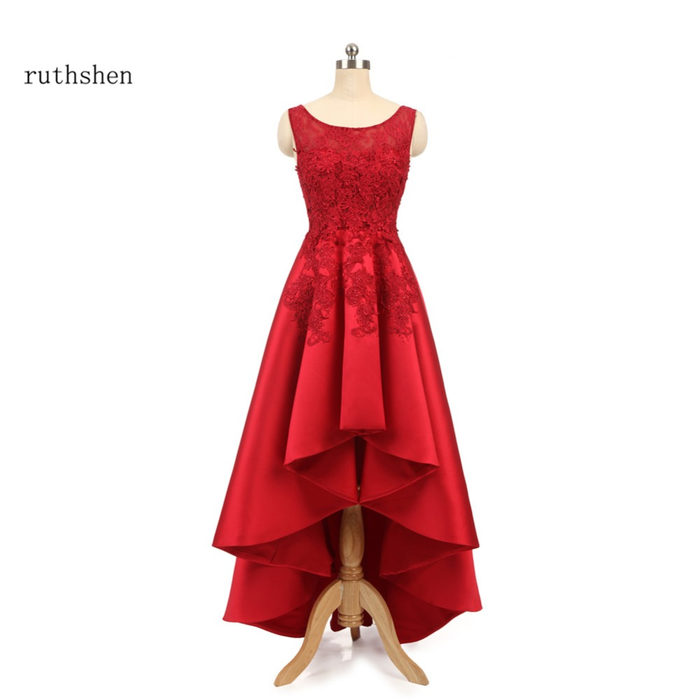 ruthshen High Low Prom Dresses 2018 Red Formal Party Dress Lace Appliques Crystals Vestido De Formatura