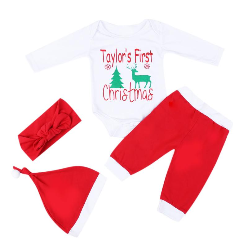 4pcs Baby Christmas Letters Deer Print Romper + Pants + Hat + Headband Set Cute Cotton Baby Boys Girls Clothes Set