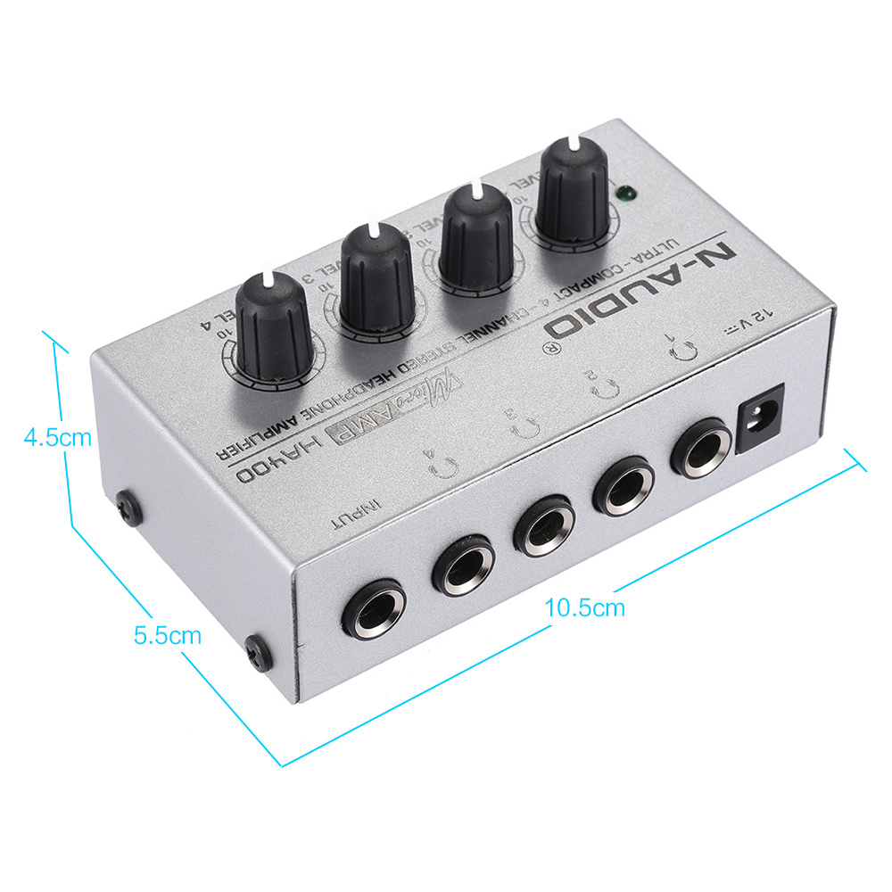 HA400 Ultra-compact 4 Channels Mini Audio Stereo Headphone Amplifier with Power Adapter