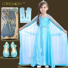 Children Carnival Girls A-Line Princess Elsa Dress With Long Cloak Crown Wig Christmas Kids Girl Party Dress Snow Queen Costume 2018 kids girl princess snow white cosplay costume dress children girl party dress with oversleeves cloak wg187