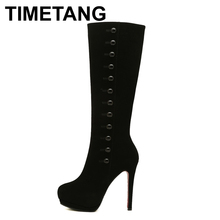 MOON WALK 2014 winter shoes long boots platform boot buttons women's red black wedges sexy red bottom high heels boot Z248