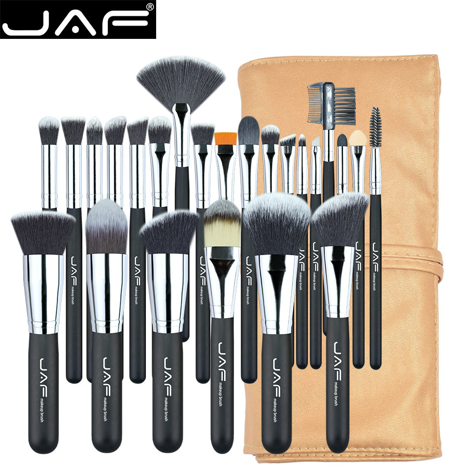 JAF 24pcs Makeup Brushes Set Professional Make Up Brush Full Function Soft Synthetic Make-up Cosmetic Tool Kit With Bag 24pcs professional makeup natural wooden handle brushes set foundation blending brush tool make up brushes with bag sponge puff