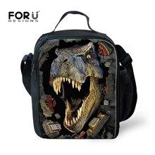 FORUDESIGNS Trendy Animal Dinosaur Lunch Bag Men Food Thermal Bag Small Zoo Lunchbox for Boys Children Lancheira Picnic Bag