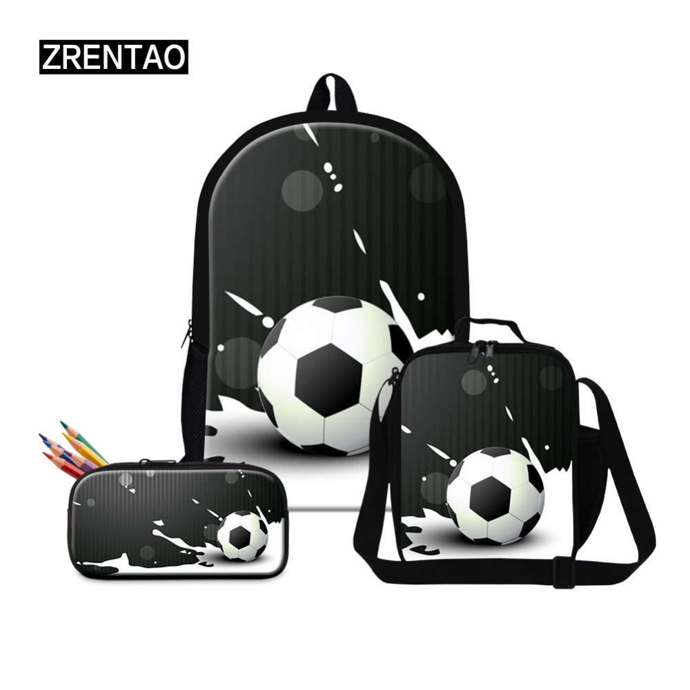Back To School 3PCs combination Schoolbag Bookbag Lunc h Box PencilHolder Sets For Woman Middle School Man Boys Soccer PrintBack To School 3PCs combination Schoolbag Bookbag Lunc h Box PencilHolder Sets For Woman Middle School Man Boys Soccer Print