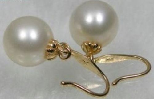 PAIR OF SOUTH SEA WHITE PEARL EARRING 14K/20 YG PERFECT 10-11MM цена и фото