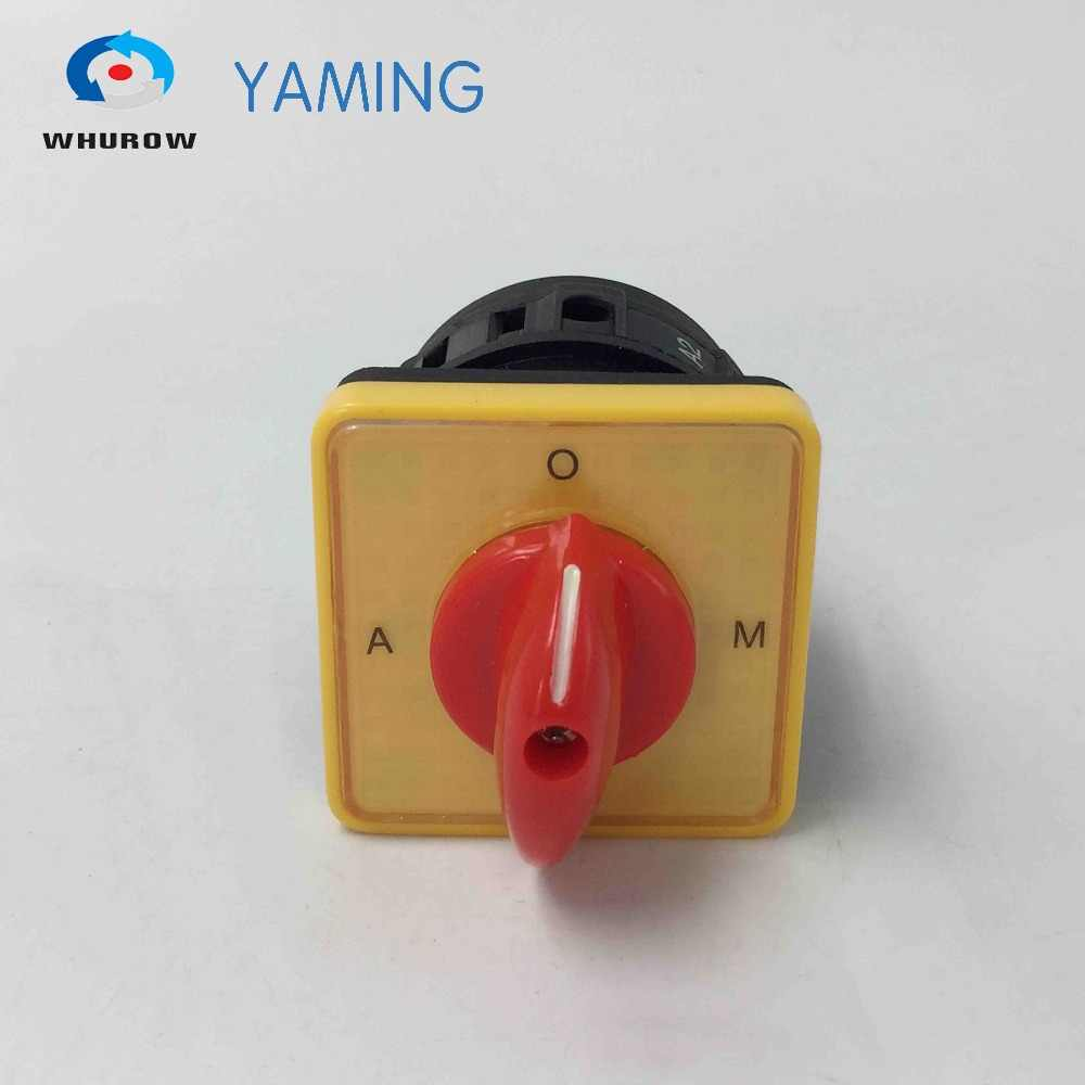 hight resolution of a o m 3 position selector switch 16a 1 pole changeover rotary cam switch yellow panel red handle
