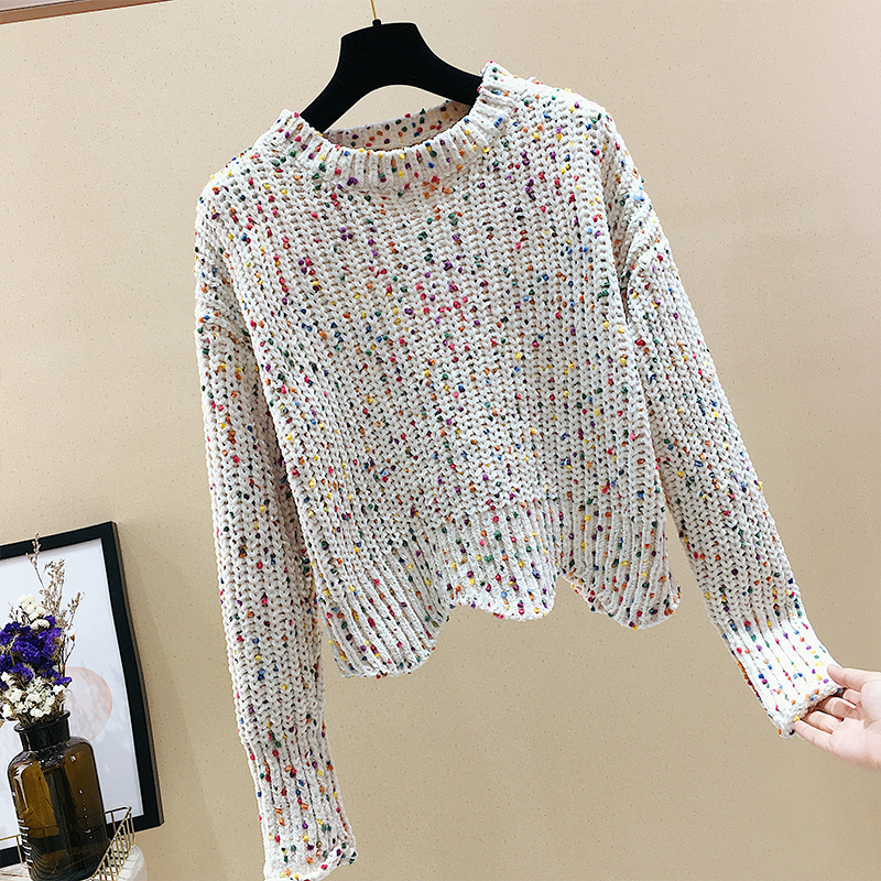 MUMUZI Colored Dot Velvet Crop Women Chenille Sweater 2018 Autumn High Street Sweater Warm Winter Girl Pullovers Jumper
