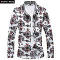 Men 's Pattern Printed Shirts 2017 New Male Fashion Casual Long-sleeved Shirt Large Size Brand Men's Clothing M-7XL