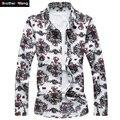 Padrão dos homens impressos camisas de 2017 nova moda masculina casual clothing longa-camisa de mangas compridas tamanho grande dos homens da marca m-7xl