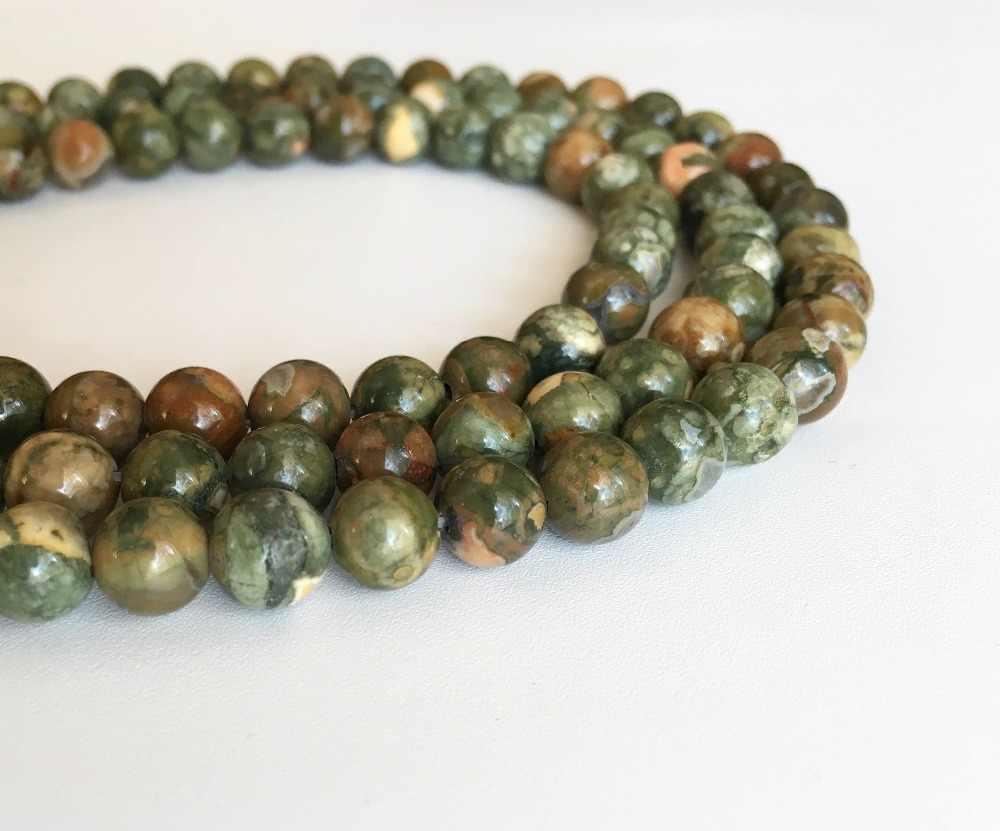"""Wholesale Batu Alam Manik-manik Rhyolite Hijau Hutan Hujan Jaspers Beads Strand 15 """"untuk Diy Kalung Perhiasan Membuat Gratis Pengiriman"""