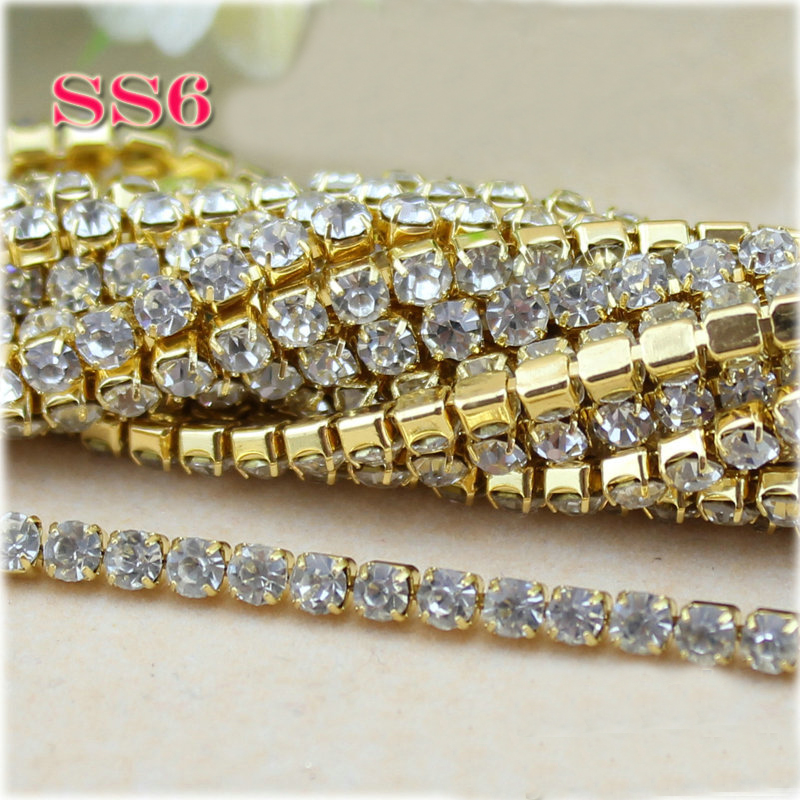 SS6-SS12 (2mm-3mm) 10 yards lot Gold Close Base Clear. US  6.50. (34). 63  orders. Clothes sewing chain 10yards roll 3mm gold base shiny crystal  rhinestone ... 0b75b7c5f17f