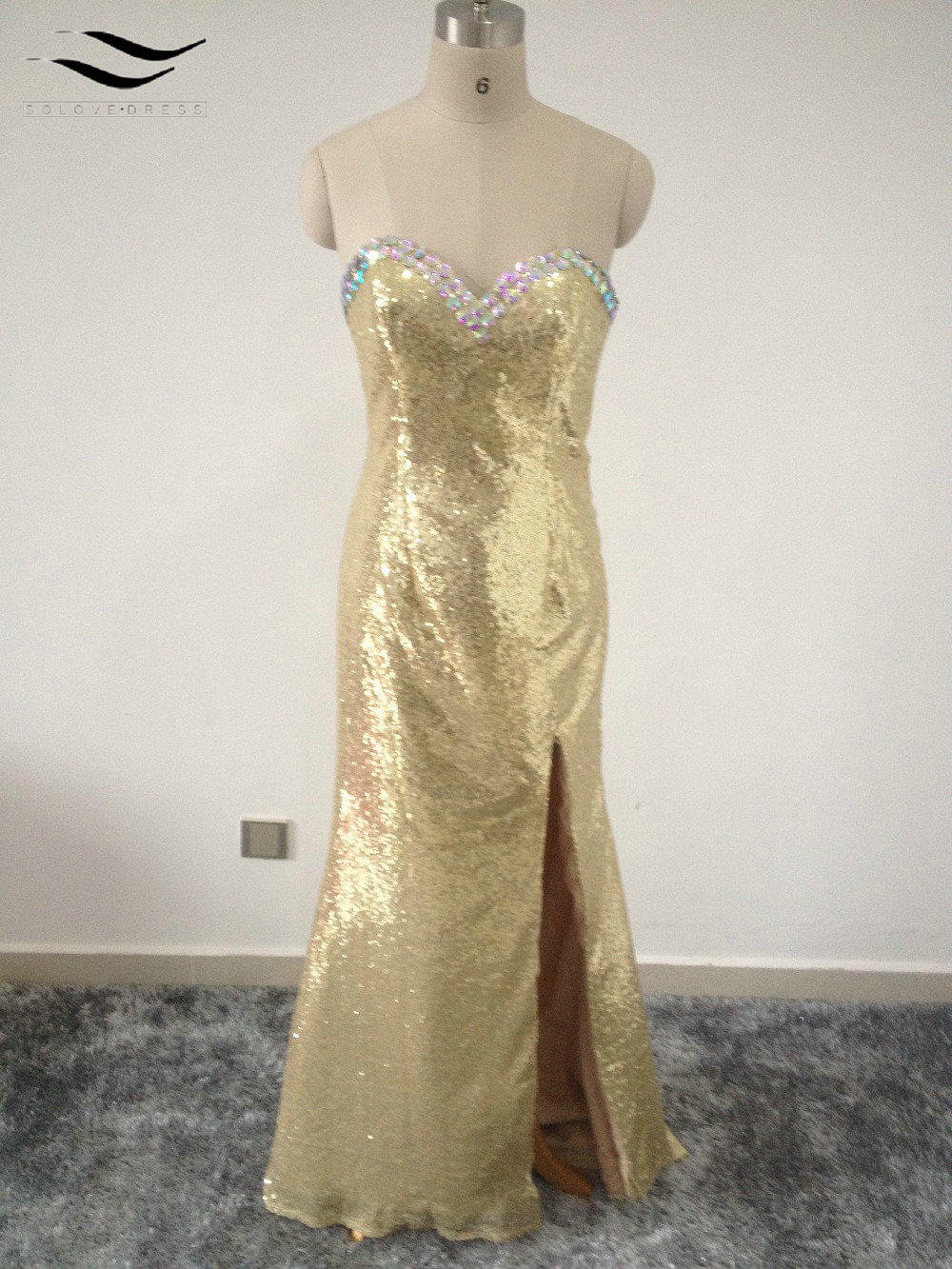 Solovedress Charming Beadeds Sequins Evening Dresses Prom Dress with Trian Stain Mermaid ...