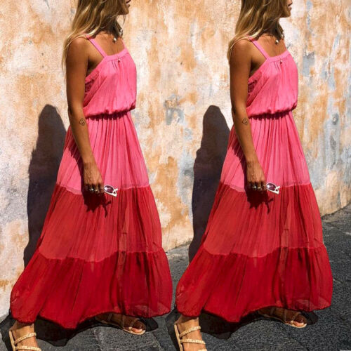 2019 Fashion Style Summer New Womens Boho Maxi Pleated Dress Lady Evening Party Patchwork Casual Sashes Beach Dress Sundress