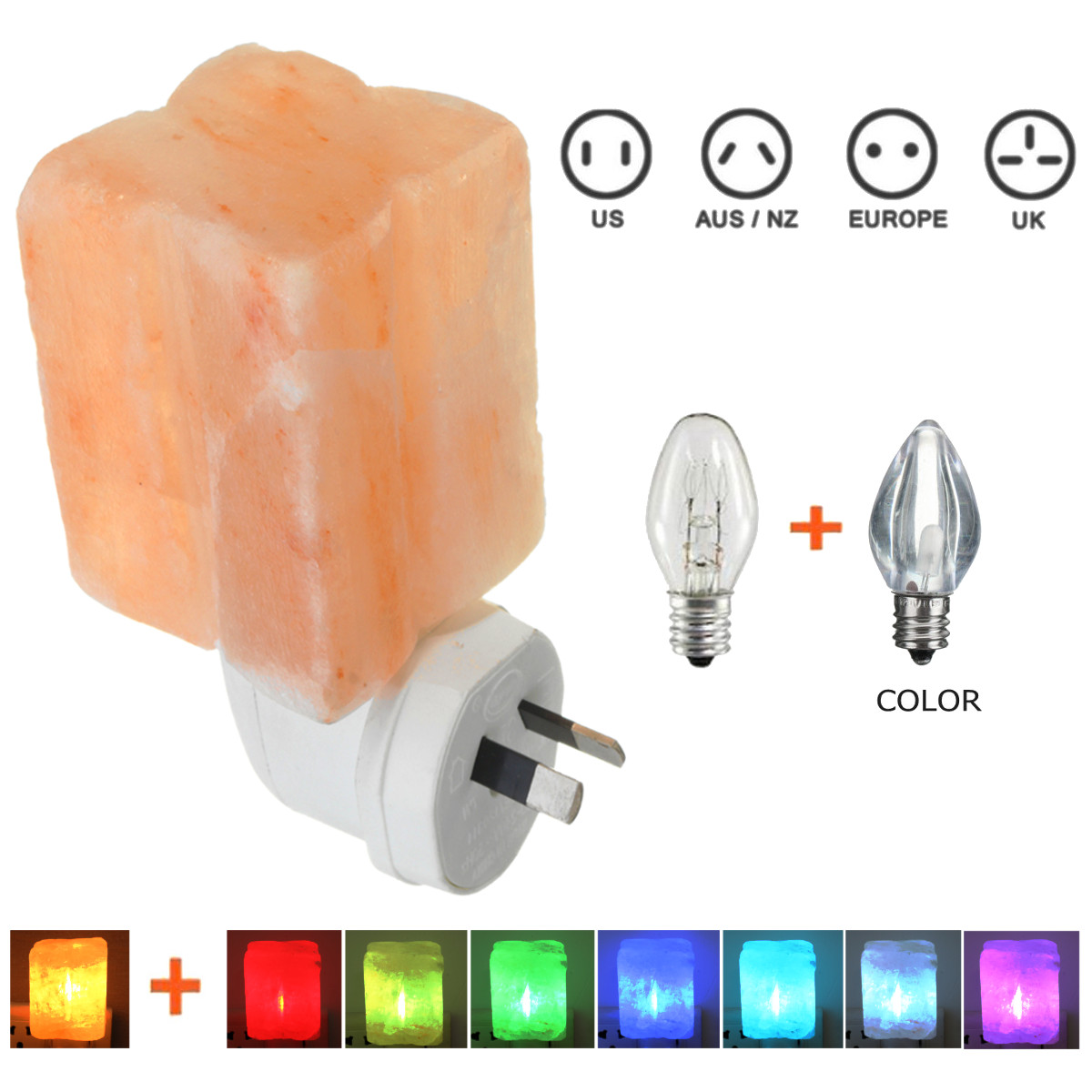Mini Himalayan Salt Crystal Four Leaf Shape Wall Night Light 7 Color Change Lamp Fixtures Bedside Bedroom Home Decoration Gift