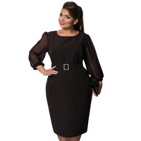5XL 6XL Plus Size Large Size Fashion Autumn Dress 2017 Long Sleeve Casual Derss Elegant Women