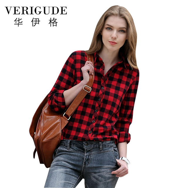 5f77feb89100b0 Veri Gude Spring Summer Plaid Shirts for Women Check Blouse Casual Slim  Loose 100% Cotton Material Long Sleeve 14 Colors 2018