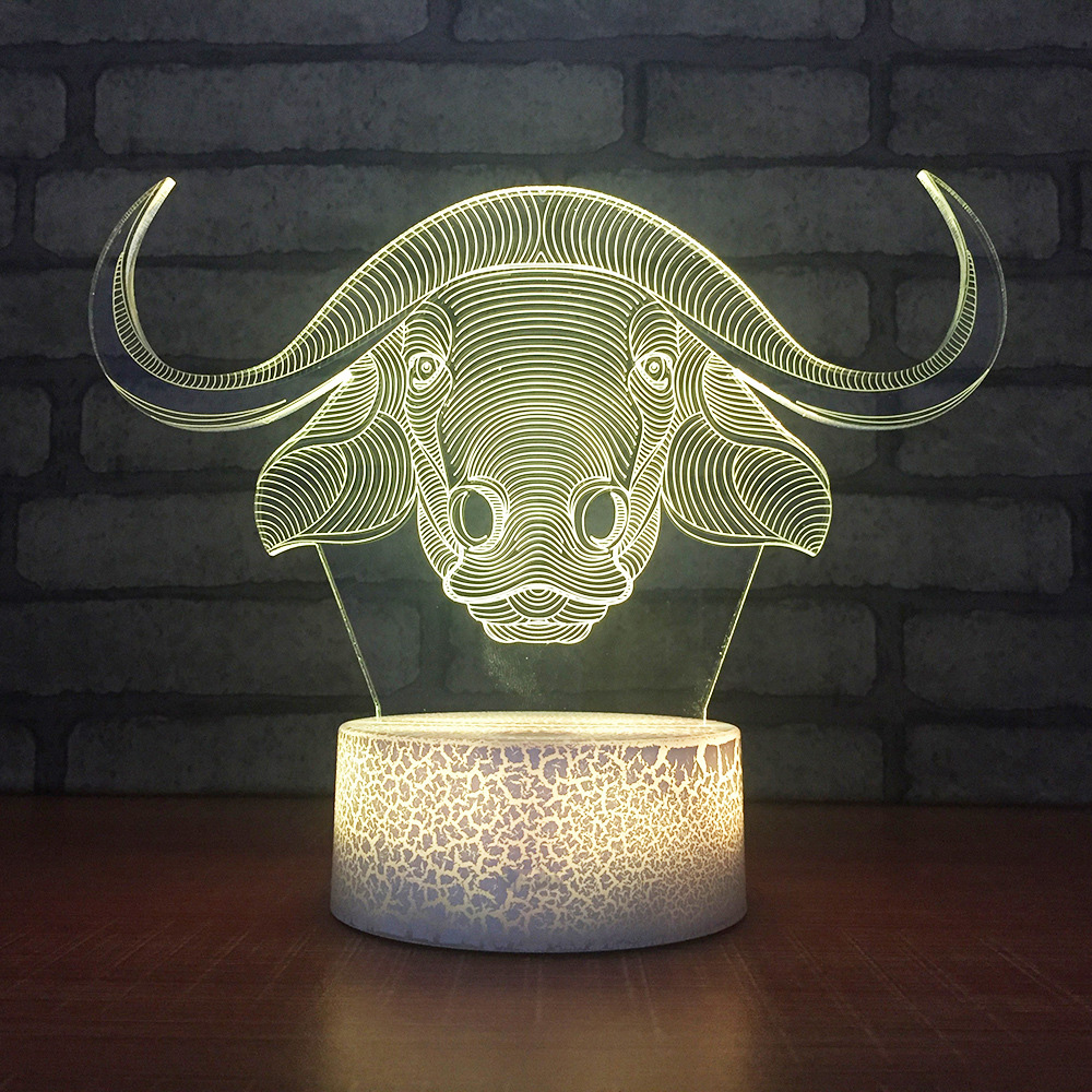 Decoration Night Lights Creative Led 7 Color Changing 3D Angle Cow Shapes Modelling Animal Light Fixtures Kids Gifts Table Lamp