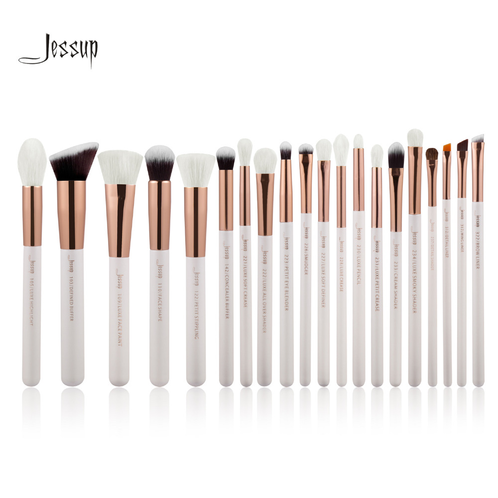 Jessup Pearl White Rose Gold Professional Makeup Brushes Set Make up Brush Tools kit Foundation Powder
