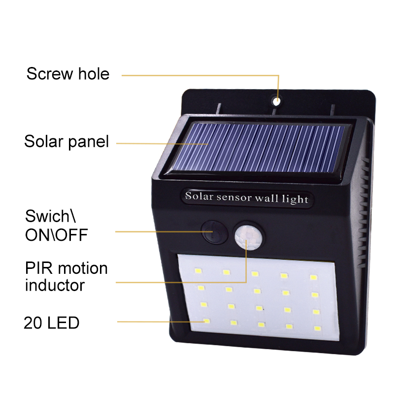 Solar Lamp Outdoor Bright Wireless 20 LED Wall Light With Motion ...