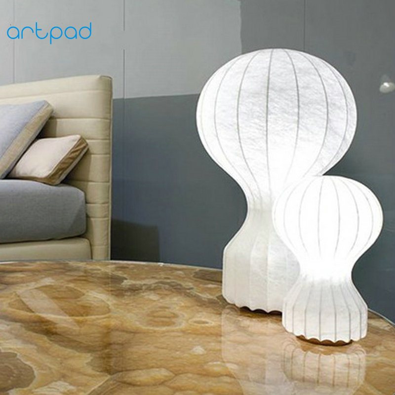 Artpad Modern Art Decoration Table Lamps Fabric Lampshade White Bedroom Bedside Lamp for Study Living Room Indoor Lighting E27 artpad emerald green bank lamp antique chinese light red solid base classic table lamps for study living room bedroom decorative