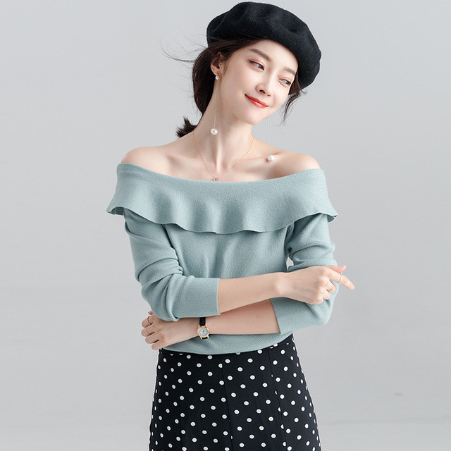 769e48e8ff554 US $18.36 9% OFF|Chic Korean Women Tops 2018 Autumn Winter Ruffled Collar  Long Sleeves Knit Pullovers Loose Casual Sweater Sweet Bottoming Shirt-in  ...