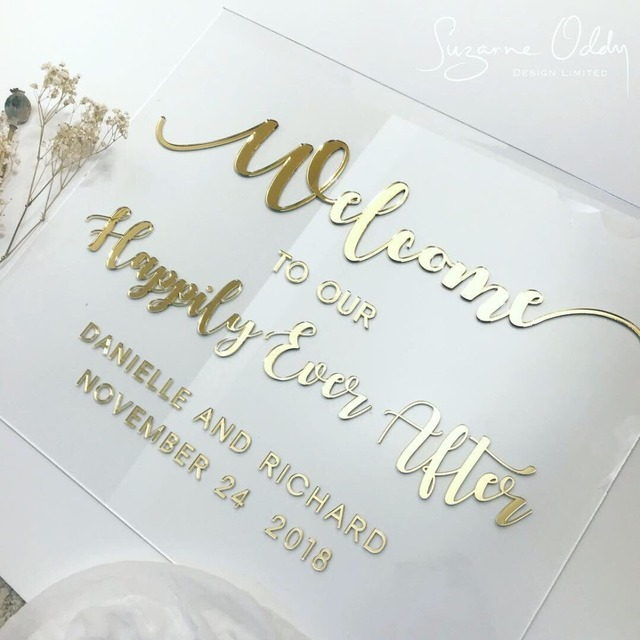 Us 30 59 15 Off Welcome Sign For Wedding Clear Glass Look Personalized Sign Modern Wedding Custom Acrylic Welcome To Our Wedding Personalised In