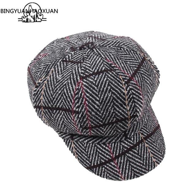 6033983d573 BINGYUANHAOXUAN Fashion Women Autumn Winter Octagonal Caps Artist Painter  hats For Women Men Beret Cap Woman Man Vintage PLaid