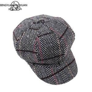 65bf70cdcad Artist Painter hats For Women Beret Cap Man Vintage PLaid