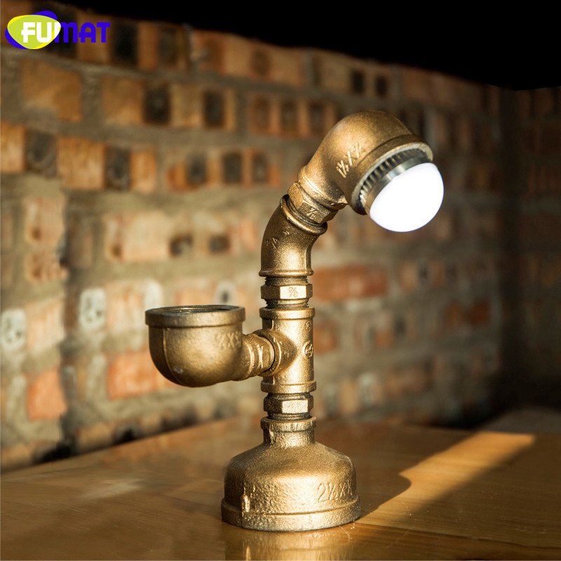 FUMAT Table Lamps Creative Iron Pipe Loft LED Table Lamp Industry Retro Light Coffee Bar Water Pipe Desk Lamp For Study Lamparas fumat creative iron water pipe table lamps led industrial loft vintage desk lamps cafe bar robot table lamps for bedroom