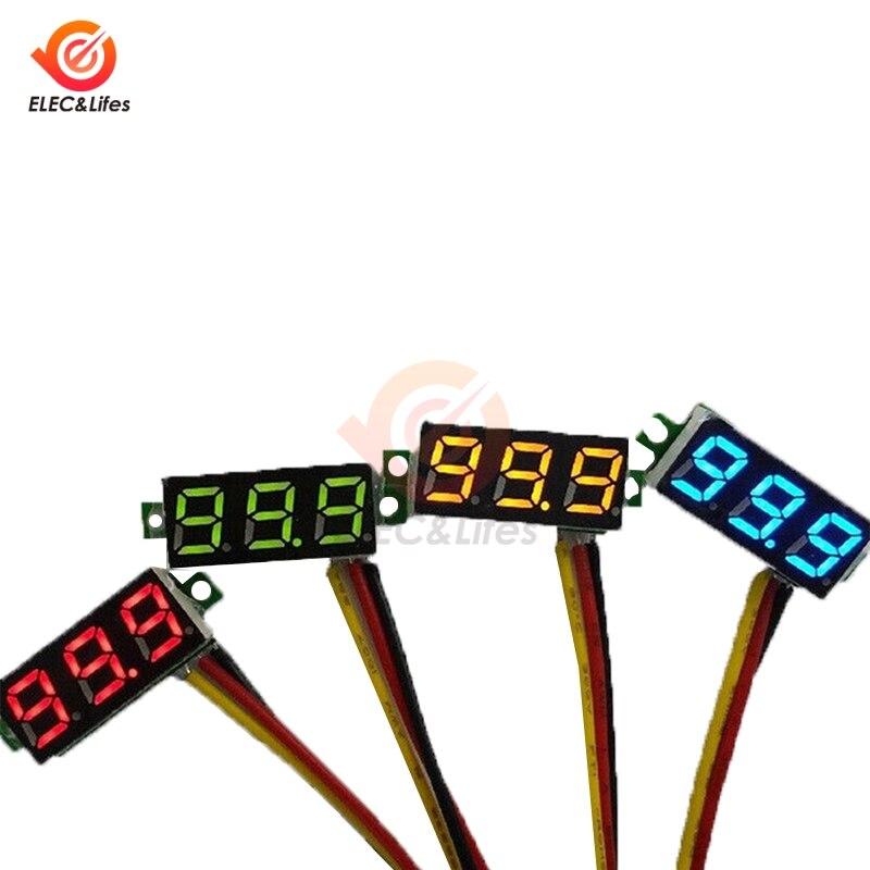 DC 0V-100V Mini 0.28 Inch LED Digital Voltmeter Voltage Meter Volt Detector Monitor Tester Panel Car Voltmeter 12V 24V Red Green
