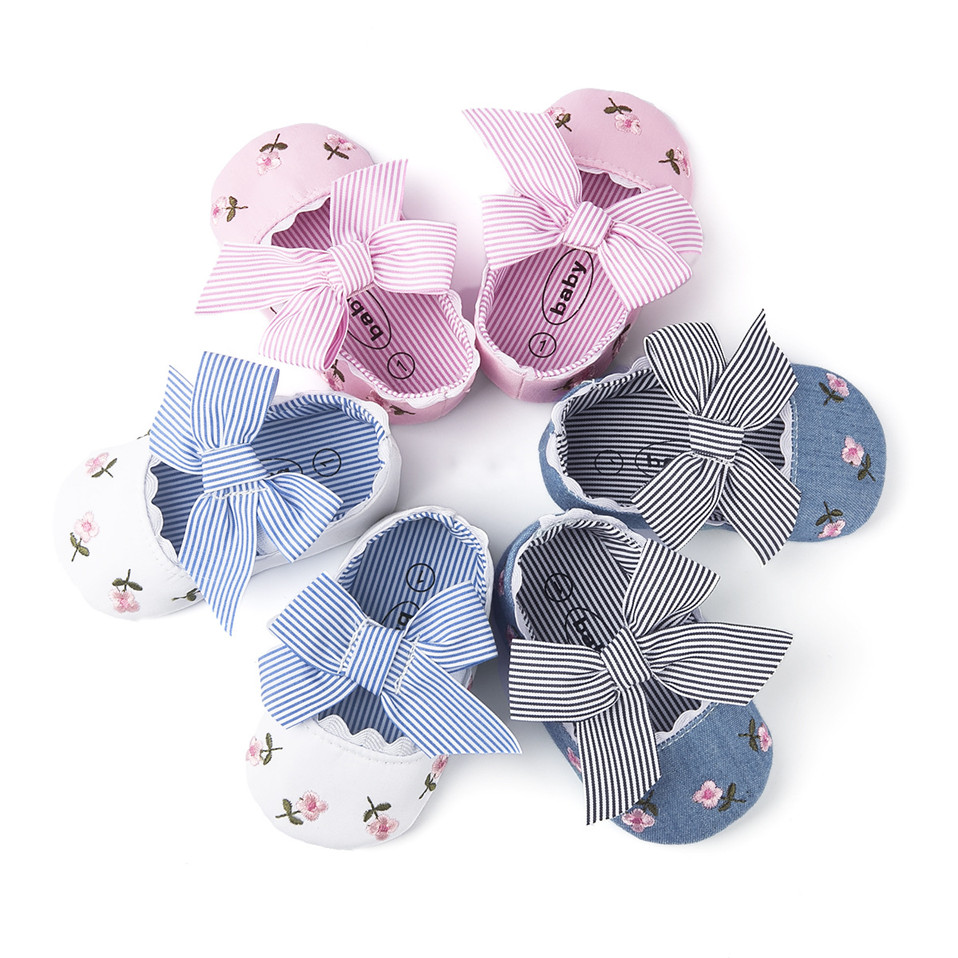 2019 Floral Embroidery Baby Shoes For Newborn Baby Girl Striped Bow First Walker Soft