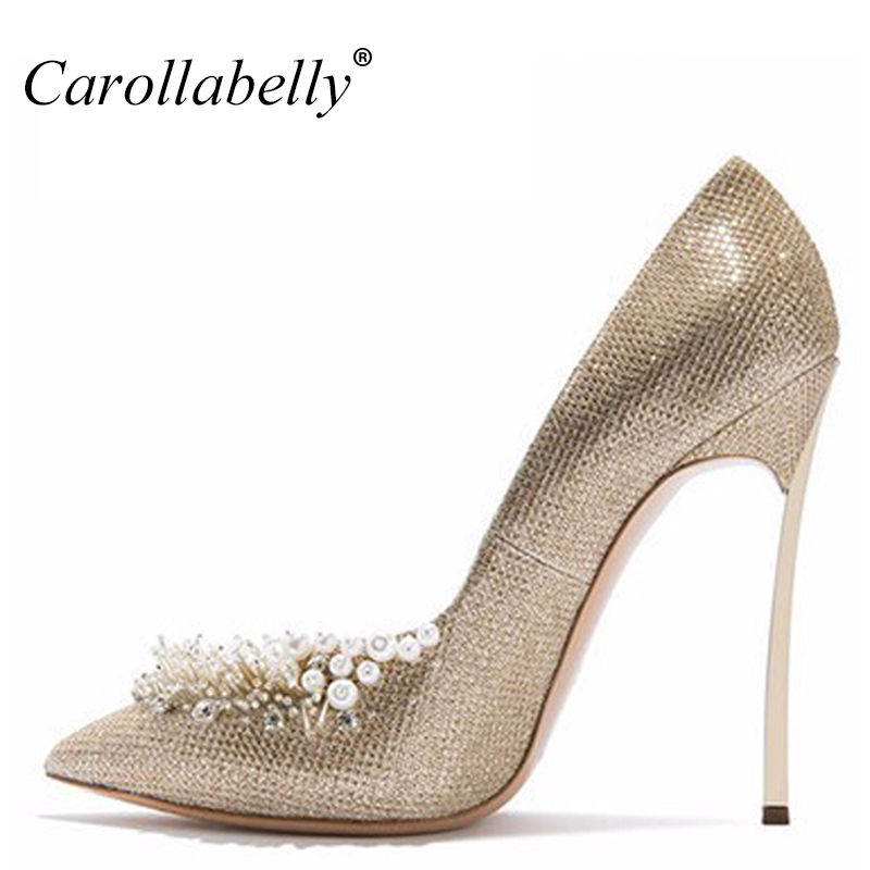 46c66e8cfabc0 US $46.41 42% OFF|Neue Frau Sexy Schuhe Frauen Gold Perlen Hochzeit Spitz  Schuhe High Heels Frauen Pumpt 10 CM/12 CM High Heels in Neue Frau Sexy ...