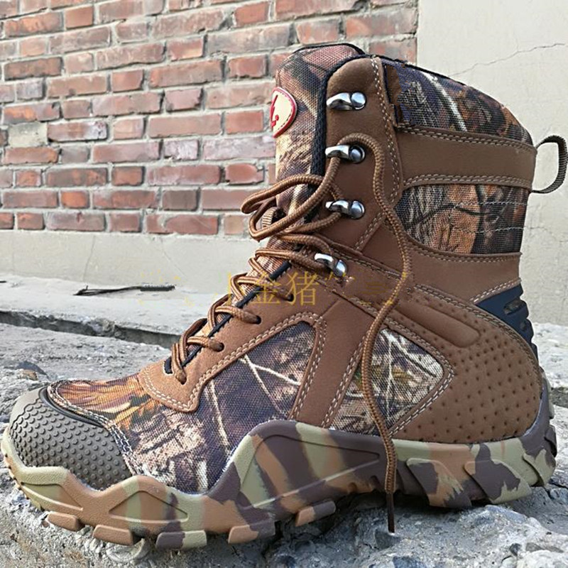 High Tube Bionic Camouflage Waterproof Antiskid Tactical Boots Men Outdoor Fishing Camping Climbing Hunting Desert Combat Shoes