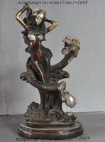 christmas Old Chinese Bronze Dragon Play Bead Belle Beautiful women Art Lucky Statue halloween