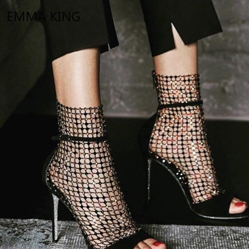 Peep Spartiates Hauts as Femmes Chaussures Picture Sandales Toe Sangles Picture Zip Sexy Aiguilles Maille Strass Creux As Femme Bottines Talons Bottes wYqtB7