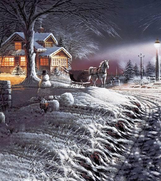 10x10ft Schnee Winter Nacht Schneemann Licht Cottage Pferd Schlitten Straße Anpassen Fotografie Hintergrund Studio Hintergrund Vinyl8x8 8x10 Volumen Groß