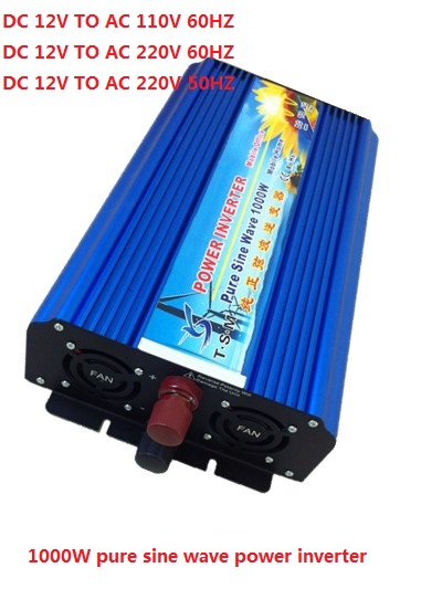 цена на 2000W Peak 1000W Pure Sine Wave Power Inverter 12V 24V 48V DC to 110V 120V 220V AC Solar Inverter Converter Solar Power Supply