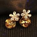 Famosa marca Áustria Cristal amarelo Citrino Natural Oriharcon Cinco folhas flores brincos Mulheres jóias de presente namorada