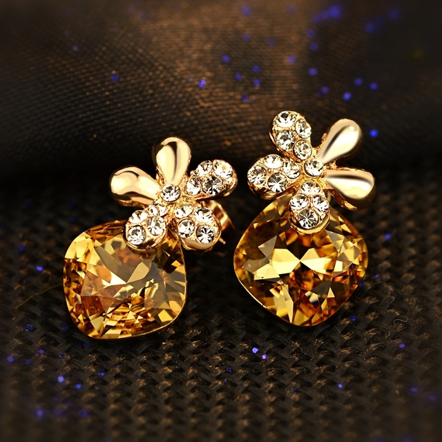 famous brand Natural Austria yellow Crystal Citrine Oriharcon Five leaves flowers stud earrings Women jewelry girlfriend gift