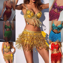 Fashion Classic Women Sequin Belly Dancer Costume Tassel Wrap Skirt Club Mini Skirt Jupe Plissee Femme#BZ(China)