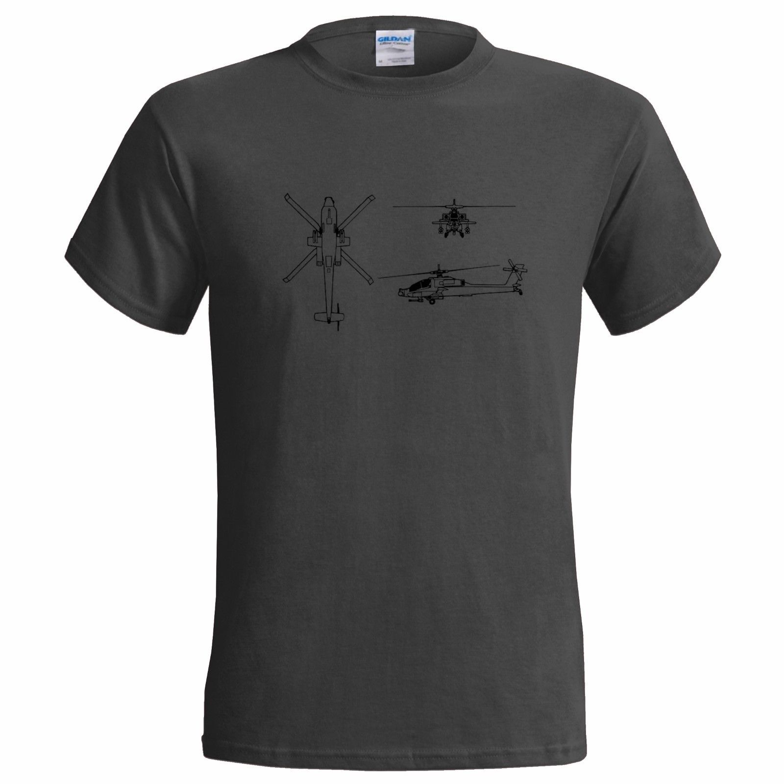 Fashion Design Shipping BOEING APACHE AH 64 HELICOPTER BLUEPRINT MENS T SHIRT US ATTACK ARMY MILITARY O-Neck Hipster Tshirts