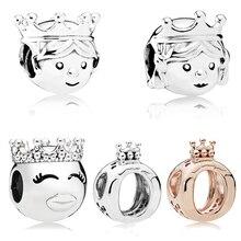 Precious Princess And Prince Charm Beads Fit Original Pandora Bracelet & Necklace Pendant Authentic Crown Accessories Bijoux princess mirror belle and prince precious paws