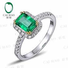 CaiMao 1.05ct Natural Emerald 18KT/750 Yellow&White Gold 0.33ct Full Cut Diamond Engagement Ring Jewelry Gemstone