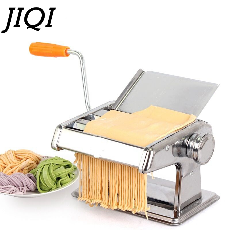 JIQI Stainless Steel Manual Noodle Maker With 2 Blades Pasta Making Machine Spaghetti Pasta Cutter Handheld Operate Noodle Maker