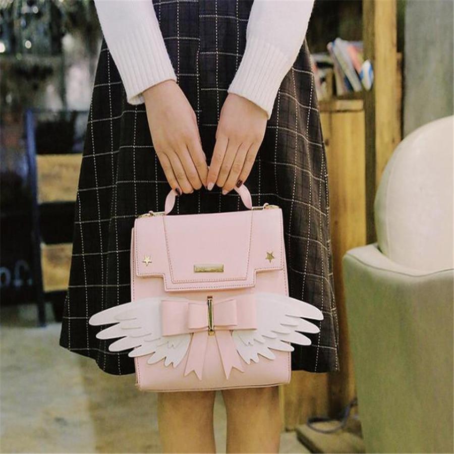 Backpacks Lolita Pink Magic Cardcaptor Sakura Girl Bowknot Handbag Shoulder Messenger Crossbody Bag With Wings Cosplay 23x11x21cm Men's Bags