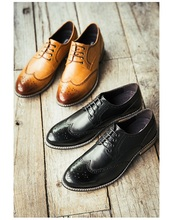 Free shipping.Mens genuine leather shoes,Casual Block carved mens shoes.quality vintage leather shoes.Head skin.England shoes