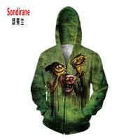 New Arrival 3D Print Creative Funny Graphic Hoodies Green Sweatshirt Zipper Cardigan Hip Hop Strewear Sudaderas