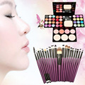 Makeup Palette Set 24 color Eyeshadow Palette+3 color powder +8 colors lipstick + 20Pcs Powder Brush Puff 4 Colors Blusher
